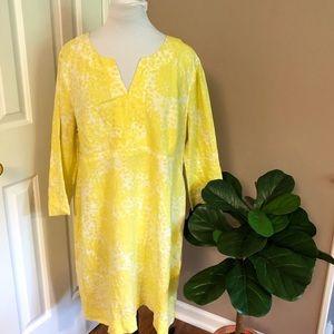 Boden Floral Yellow Linen Dress